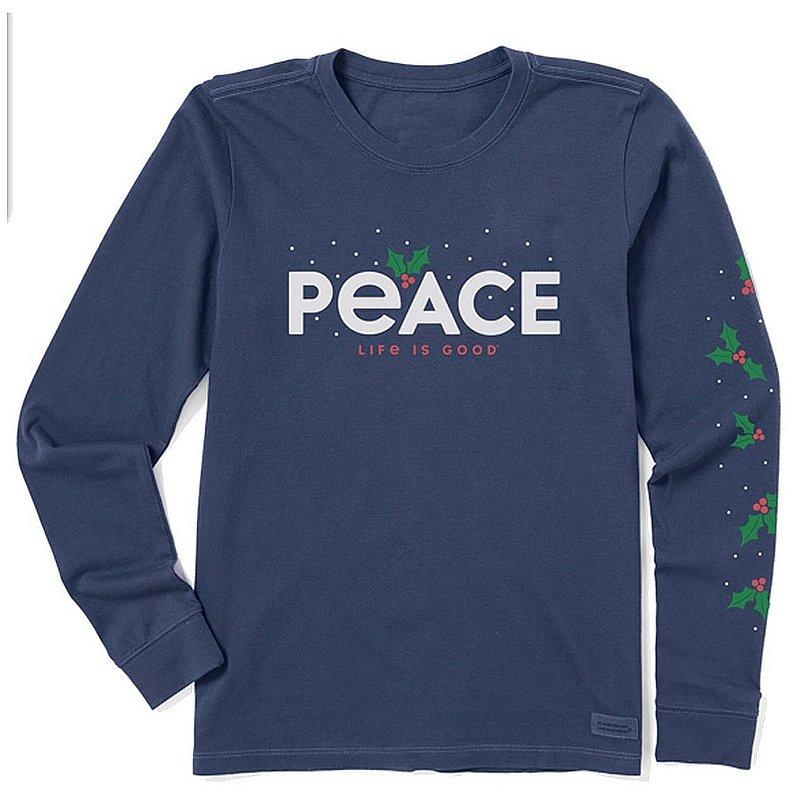Life is good Women's Peace Mistletoe Long Sleeve Crusher Tee Shirt 94568 (Life is good)