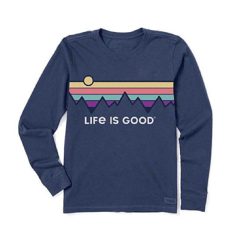 Life is good Women's Retro Mountain Stripe Long Sleeve Crusher Tee Shirt 72887 (Life is good)