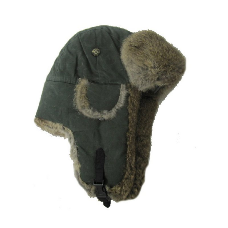 Waxed Cotton with Brown Fur Hat