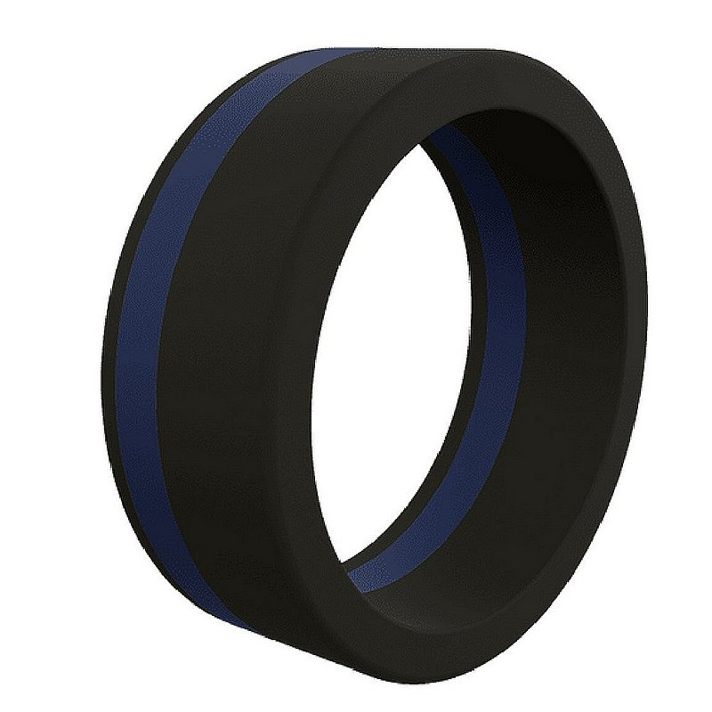 Men's Thin Blue Line Silicone Ring--Size 13