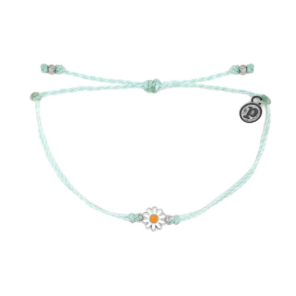 Adjustable Band Pura Vida Mini Braided Beaded Bracelet Silver Plated Charm