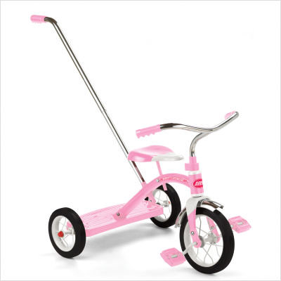 "Classic Pink 10"" Tricycle w/ Push Handle"
