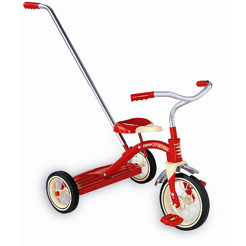"Classic Red 10"" Tricycle w/ Push Handle"